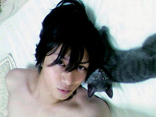 with his lovely cat...they both are cute